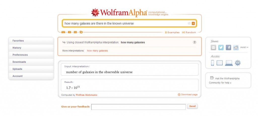 Wolfram alpha knowledge engine example