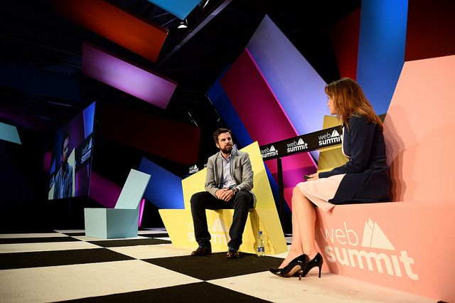 Mike McAvoy of The Onion in conversation with Anne-Marie Tomchak of the BBC at Web Summit. Photo: Sportsfile.