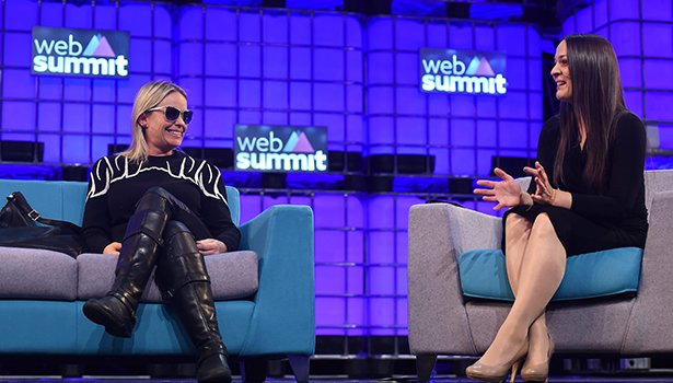 Nico Sell (left) in converstation with Nathalie Nahai at Web Summit. Photo: Sportsfile.