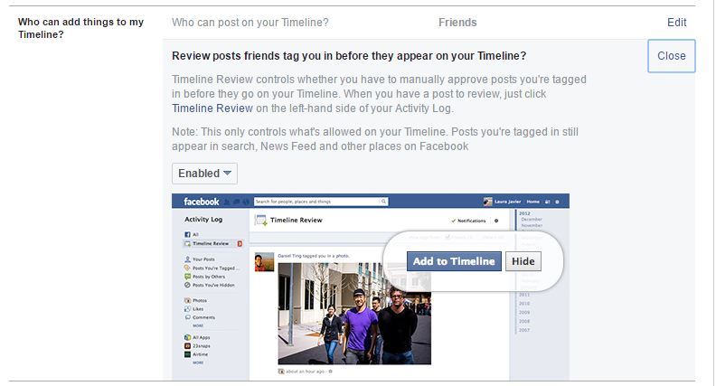 Facebook Timeline settings